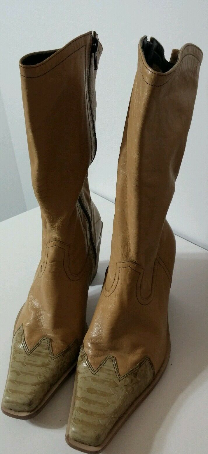 NINE WEST Womens Size 8 M Camel Super Soft Leather Mid Calf Boots Lizard Toe EUC