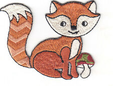 FOX w/MUSHROOM - FOREST ANIMAL - ZOO ANIMALS -  Iron On Embroidered Patch