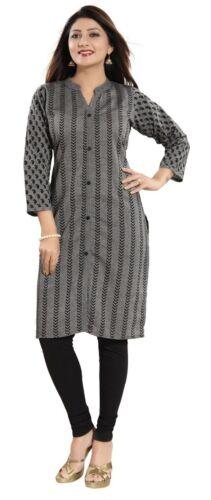 Women Indian Black Cotton Kurti Tunic Printed Kurta Shirt Dress NK22