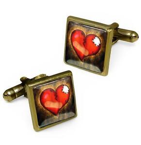 Love-Hurts-Broken-Heart-Antique-Bronze-Glass-Emo-Valentine-Cufflink