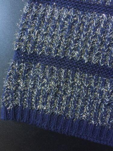 Navy Hwr Antropologia Argento Metallizzato Nuovo Blu Pullover Righe Maglione q4gwWnt