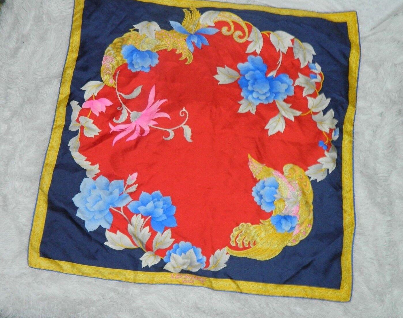 LEONARD PARIS SCARF SILK  BIG  FLORAL RED BLUE PI… - image 2