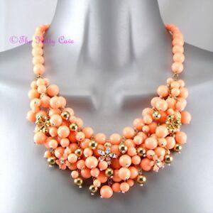 Palido-Coral-Naranja-Oro-Verano-Elegante-Con-Cuentas-Grupo-Pechera-Cuello-Distintivo-Collar