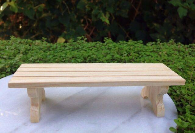 Miniature Dollhouse FAIRY GARDEN Furniture ~ Natural Pine Adirondack Low Table
