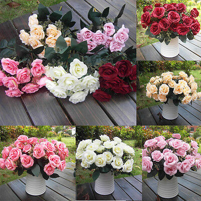 Wedding Party Home Decor Artificial Fake Silk Rose Flower Bridal Bouquet 12 Head