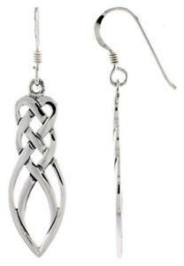 Irish-Celtic-Knot-Motherhood-Dangle-Earrings-High-Polished-925-Sterling-Silver