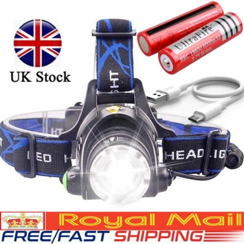 Rechargeable Head Torch Headlamp Light Lamp 350000LM T6 LED Headlight UK STOCK