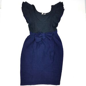 f364d8202878 Anthropologie Moth Curtain Call Dress Wool Blend Bow Striped Size S ...