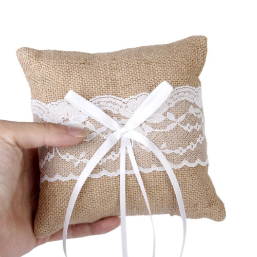 Rustic Burlap Jute Lace Flower Girl Basket+Ring Pillow Wedding Decor
