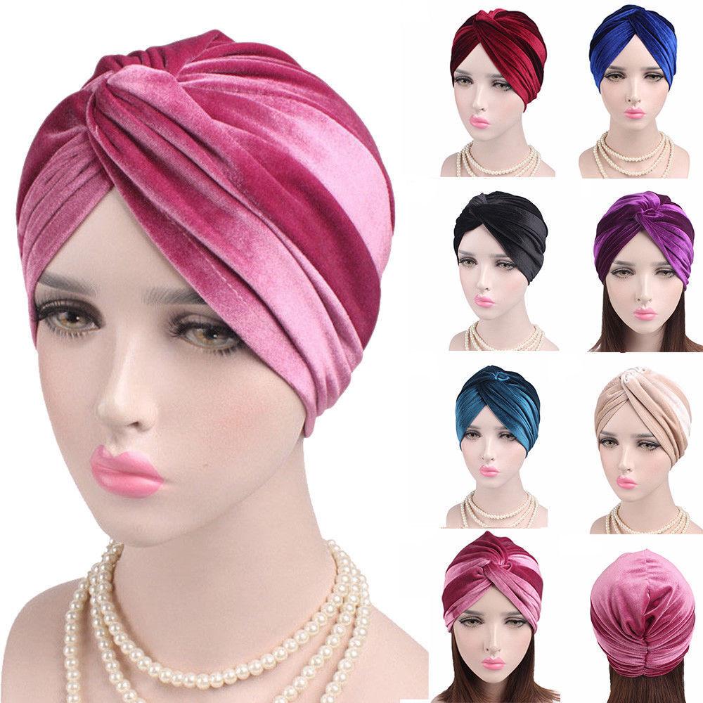 Women Indian Muslim Turban Hat Head Wrap Stretchable Chemo Pleated Hijab Cap US