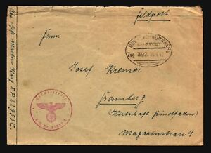 Germany-1942-Dresden-Nurnberb-Stampless-Cover-Top-Creasing-Z14818
