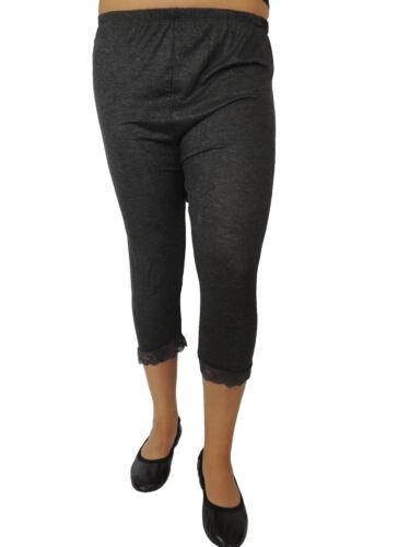 Kurze Damen Leggings mit Spitze Größe 46 48 50 52 54 Übergröße Einfarbig 105