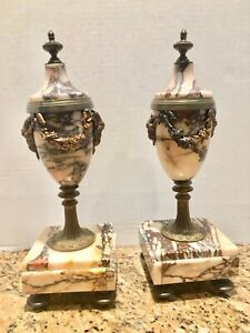 Antiques Other Antique Decorative Arts Antique Pair Of Marble And Bronze Urns