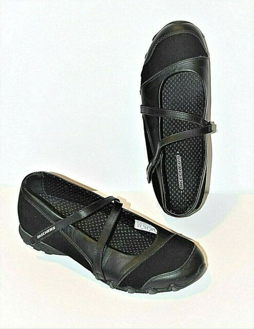 Skechers Womens 9.5 Active Bikers Step Up Shoes Mary Janes 21571 Black Leather