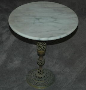 Vintage Mid Century Modern White Grey Marble Brass Side Table - Black and brass side table