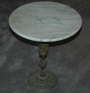 Vintage Mid Century Modern White Grey Marble Amp Brass