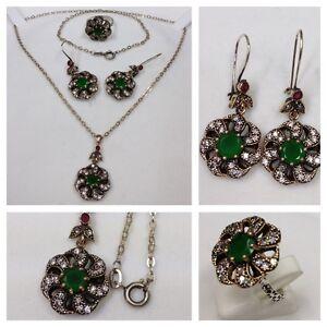 Other Fine Jewelry Sets Set Kette/collier Mit Anhänger Ohrringe & Ring Mit Farbsteine Schmuckset Fine Craftsmanship