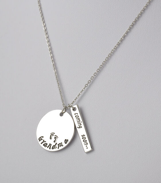 """New Chic Cute""""Grandma,Coming soon""""Pendant Silver Chain Necklace Gift For Family"""