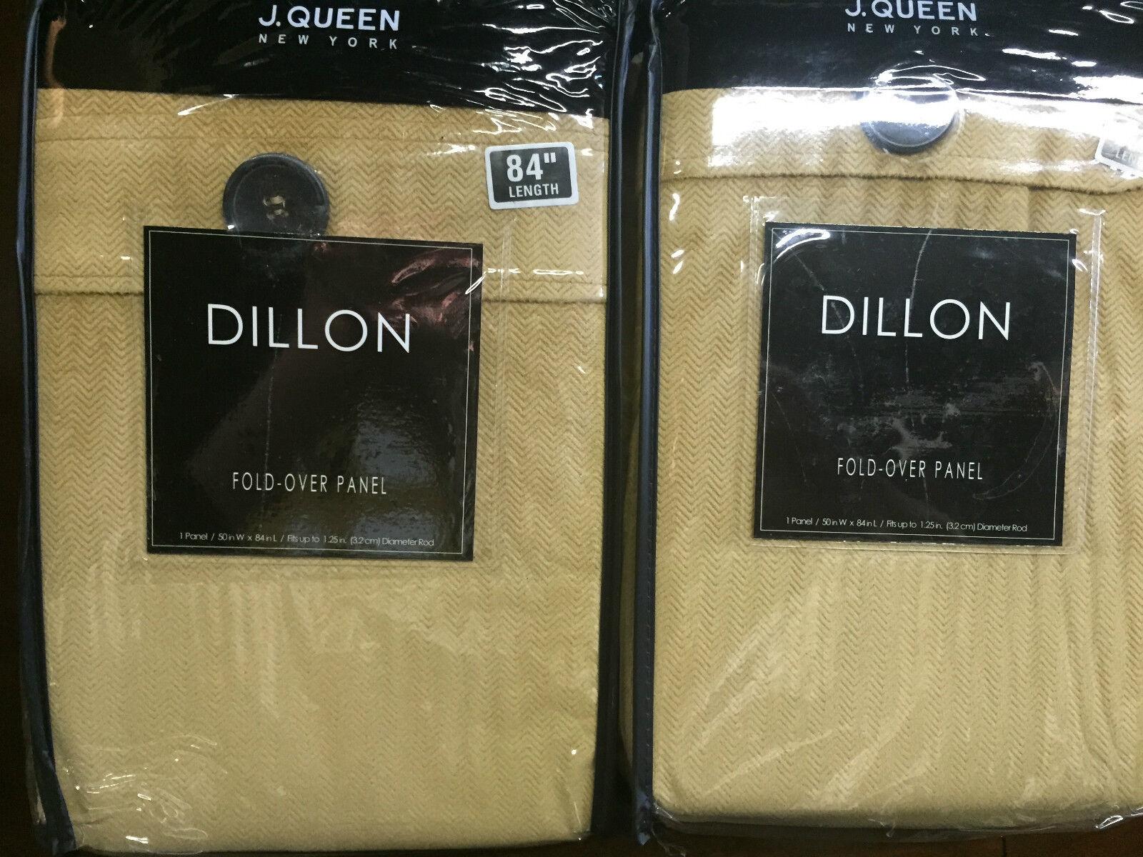 J. Queen New York Dillon Chevron Terciopelo Cortina Paneles Par 2 piezas Conjunto de oro