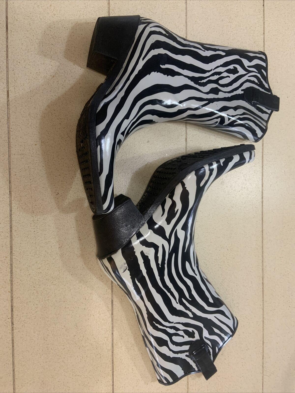 Corkys Black White Zebra Rubber Cowboy Rain Boots… - image 3