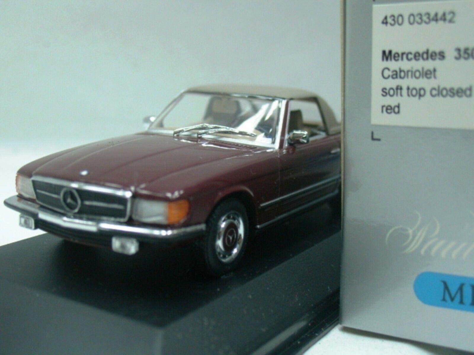 Wow extremadonnate raro Mercedes W107 R107 350SL suave superior 1974 Wn rosso 1 43 Minichamps