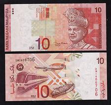 Malaysia 10 Ringgit RM10 (2001) P42d paper money W/O Silver Strip -  UNC