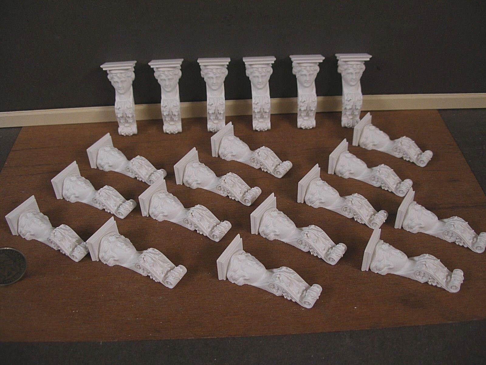 20 soportes Tallado ménsulas    Mini Casa De Muñecas Escala 1 12 blancoo  Sala Caja