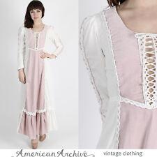 Vintage 70s Gunne Sax Dress Boho Wedding Velvet Crochet Lace Hippie Corset Maxi