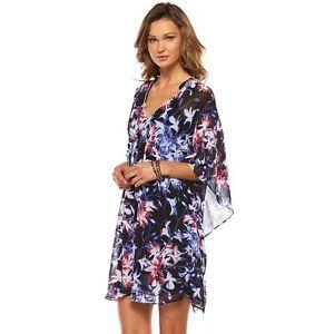 Details About Jennifer Lopez Black Blue Pink Fl Rhinestone Embellished Caftan Dress M