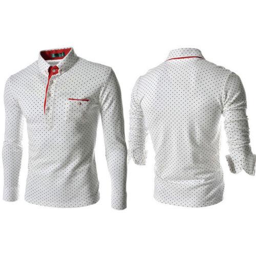 Luxury Men Polo Dress Polka Dot Shirt Long Sleeve Formal Work Slim Blouse Tops
