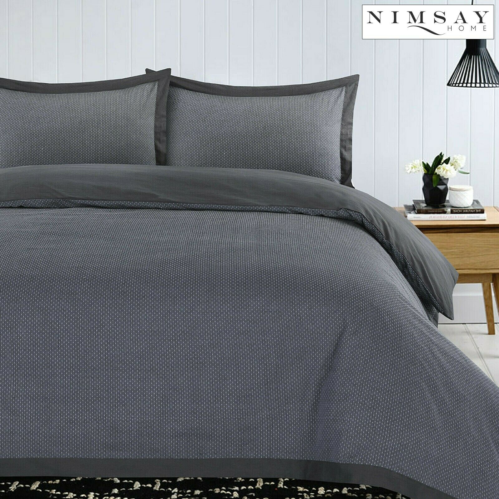 Honesty Leaf Grey Duvet//Quilt Cover Bedding Set With Matching Pillow Case Flower