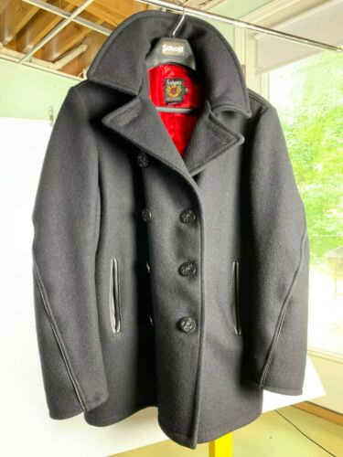 Schott Leather Trim Peacoat