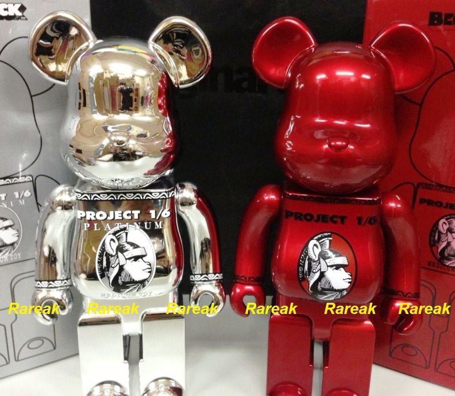 Be@rbrick 2014 Project 1 6 Centurion Centurion 400% Platinum Silver & Red Bearbrick Set 2P