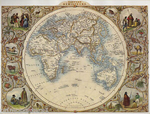 1800\'S WORLD GLOBE EASTERN HEMISPHERE MAP PEOPLE ANIMALS REPRO ...