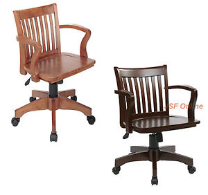 Mission Style Bankers Wood Swivel Desk Office Chair In Laquered Finish With Arms Ebay
