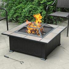 New Outdoor Garden Patio Fireplace Steel Ceramic Fire Pit Heater Antique  Bronze