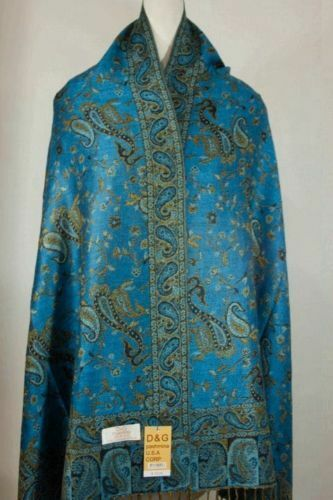 NEW DG Pashmina Scarf Wrap Paisley Turquoise//Black 70/%cashmere 30/%silk Style:11