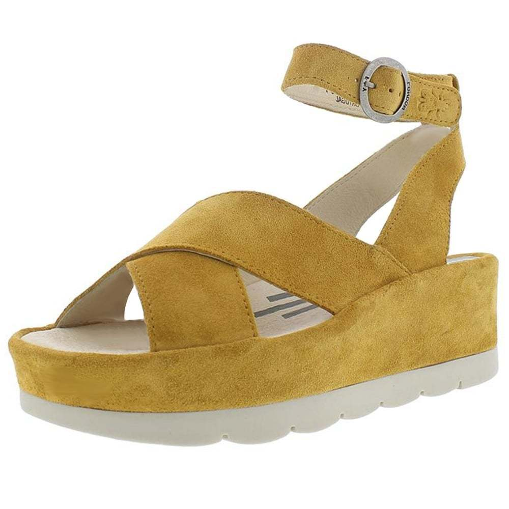 Womens fly london bite 850 pull on ankle leather wedge sandals size and honey