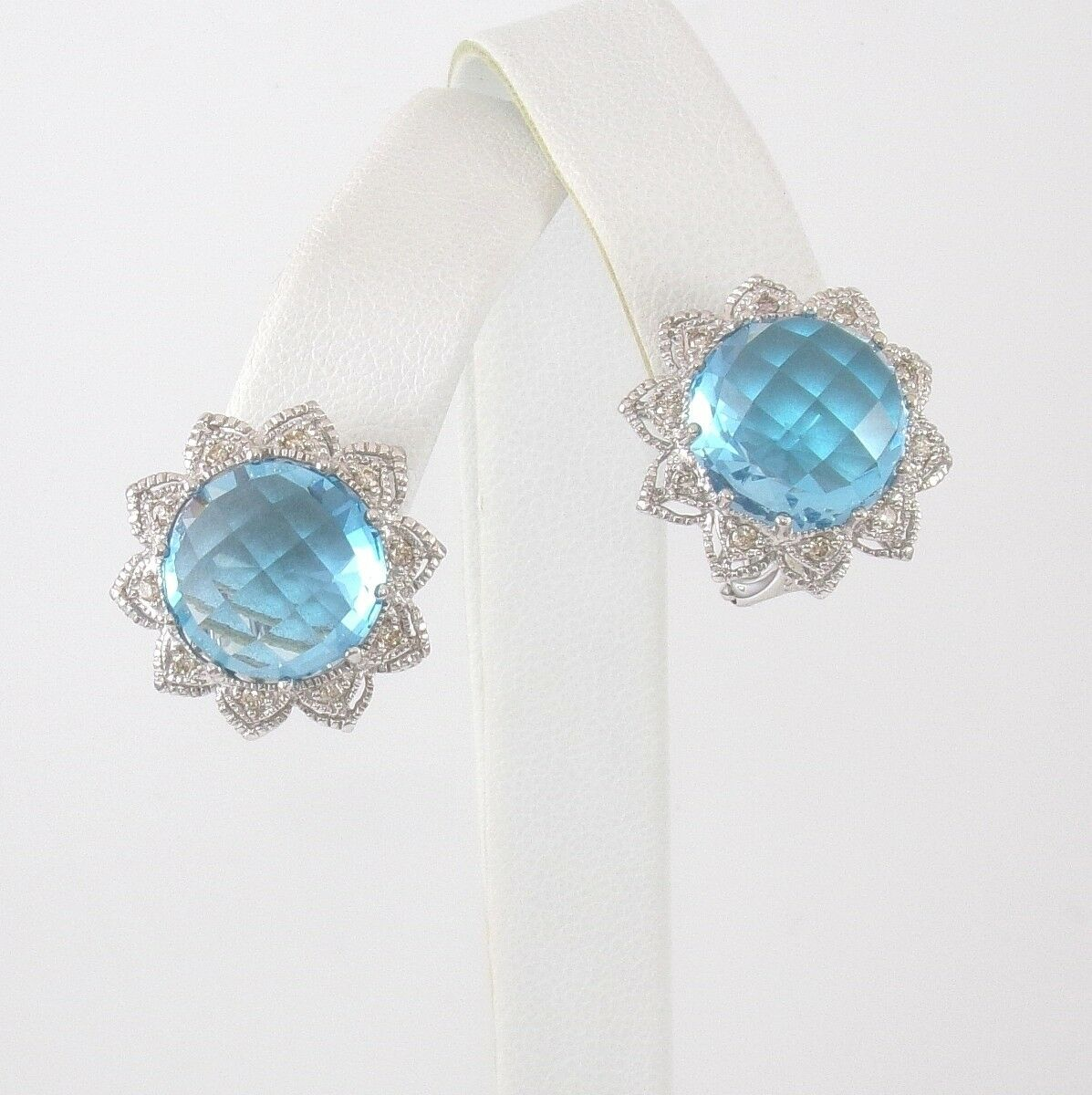 Samuel B BJC 18K White gold bluee Topaz Diamond French Clip Earrings