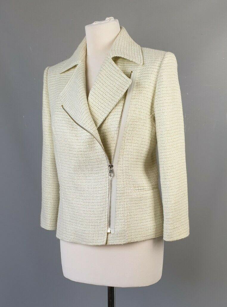 Ted Baker jacket Noira short pale green cotton blend biker style SIZE 2 UK 10