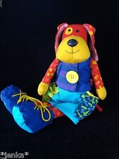 Manhattan Toy Colorful Educational Plush Dog ~ 2003 ~ Button Zip Buckle ~ EUC!