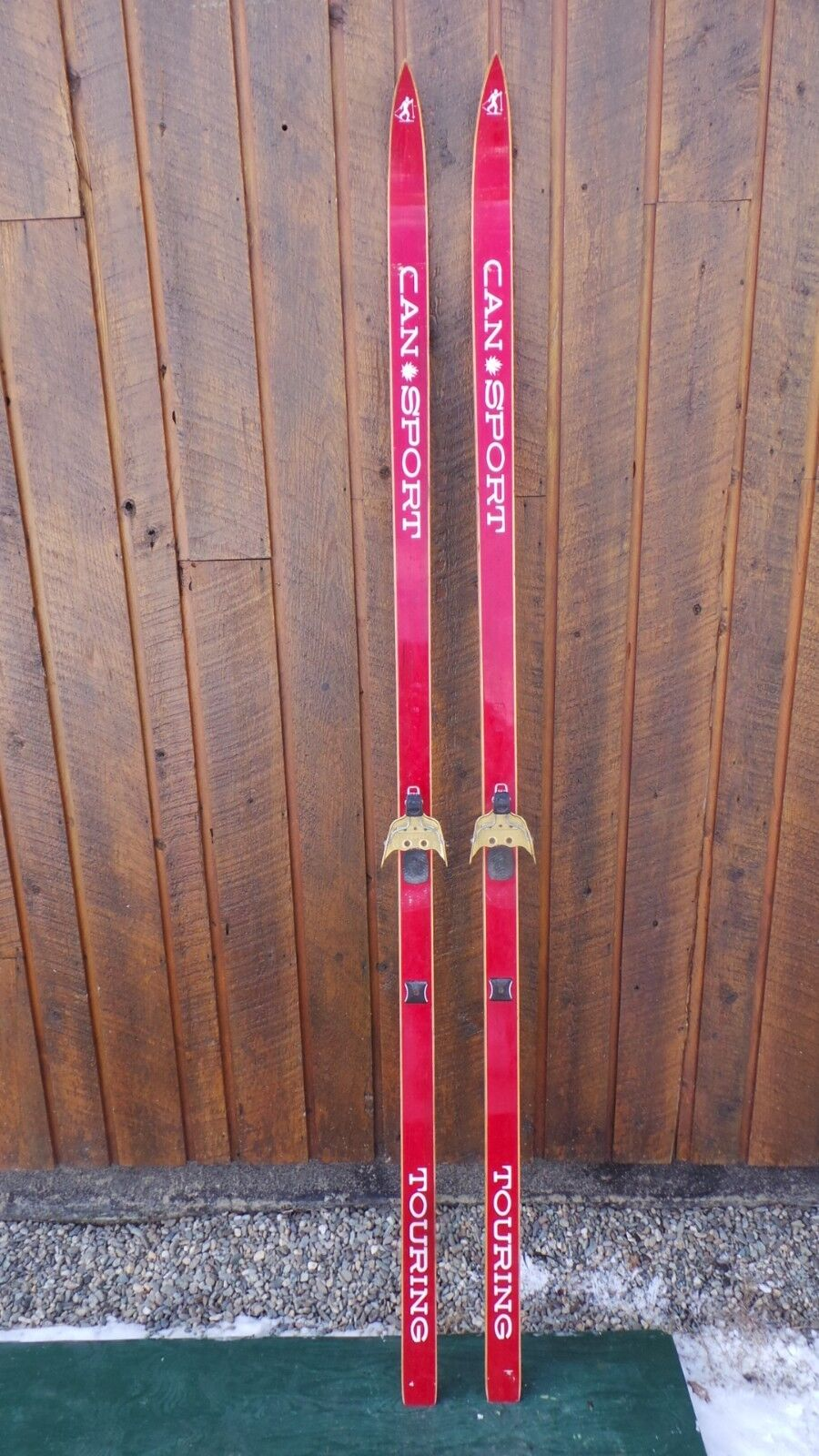 VINTAGE Wooden 80  Skis Signed CANSPORT with  RED Finish