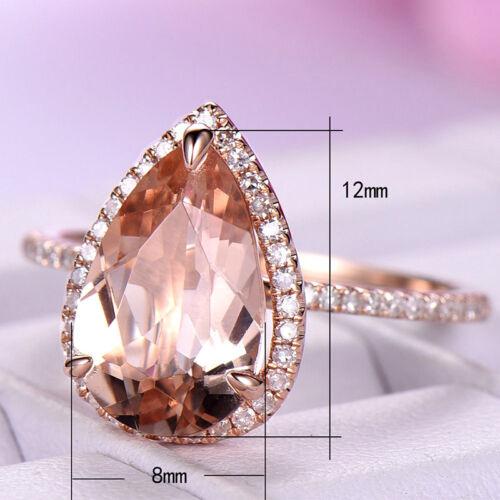 Plaqué or rose goutte d/'eau Champagne Stone Fashion Bague de mariage Taille 6-10