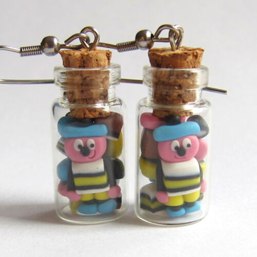 Liquorice Allsorts Glass Vials Candy Jelly Sweet Jars Mini Food Earrings Jewelry