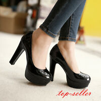 #Mary Jane Women's Patent Leather High Heels Platform Round Toe Pumps Shoes Size