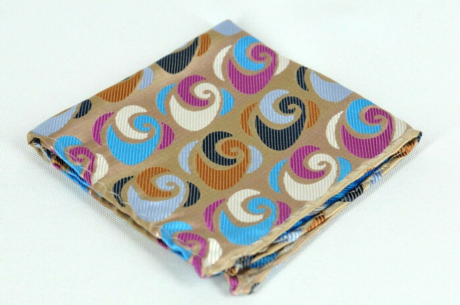 Lord R Colton Masterworks Argos Taupe & Purple Geo Silk Pocket Square - New