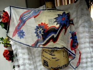 VTG-Silk-Sheer-Mid-Century-Floral-16-x-42-1-2-Long-Scarf-Red-Blue-Black-GVC
