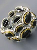 Silver Black And Gold Stretch Bracelet