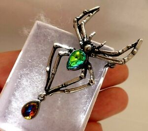 Spider-brooch-dark-silver-plate-dangling-rhinestone-vintage-style-in-gift-box