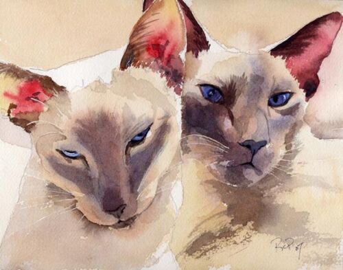 """Giclee Print Siamese Oriental Cat Art Painting /""""Cogs/"""" lilac point"""